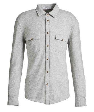 Brunello Cucinelli Veste-chemise en laine, cachemire et soie