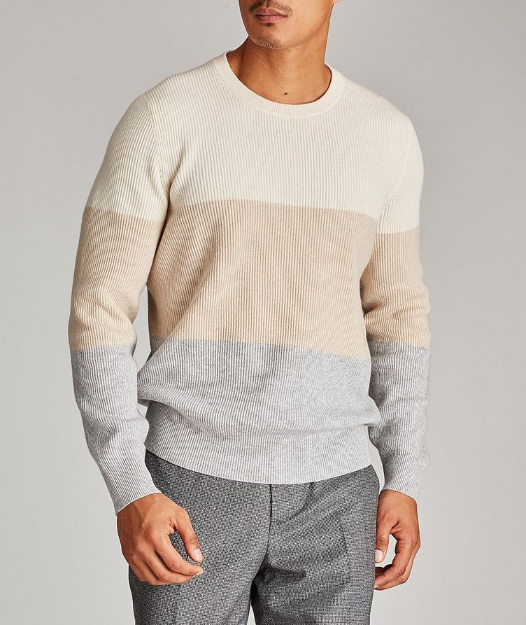 Striped Wool, Cashmere, and Silk Sweater image 1