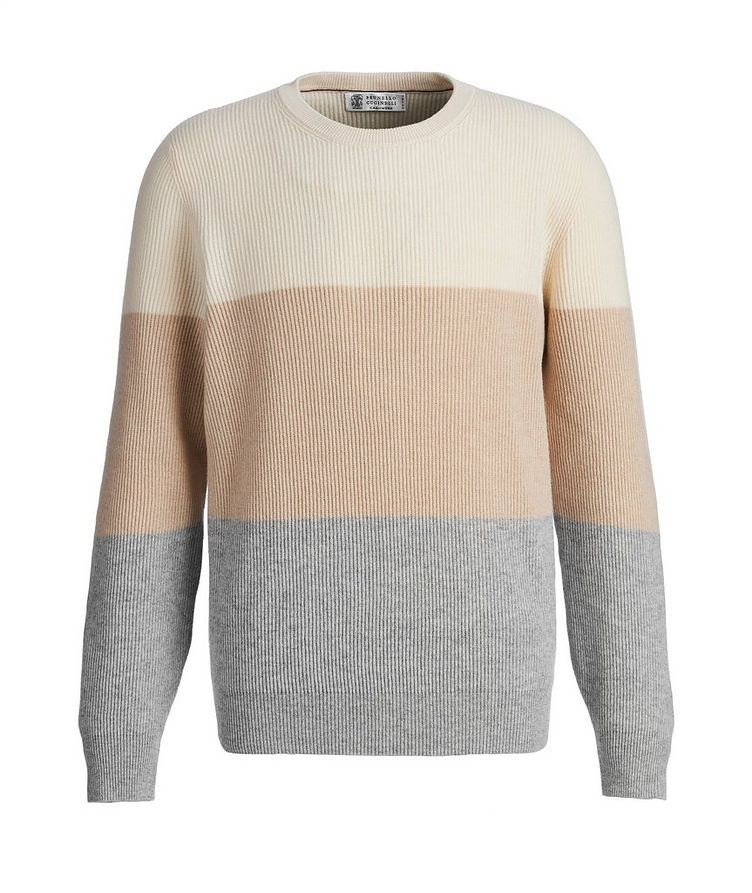 Striped Wool, Cashmere, and Silk Sweater image 0