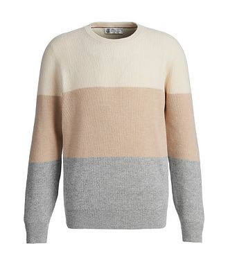 Brunello Cucinelli Striped Wool, Cashmere, and Silk Sweater