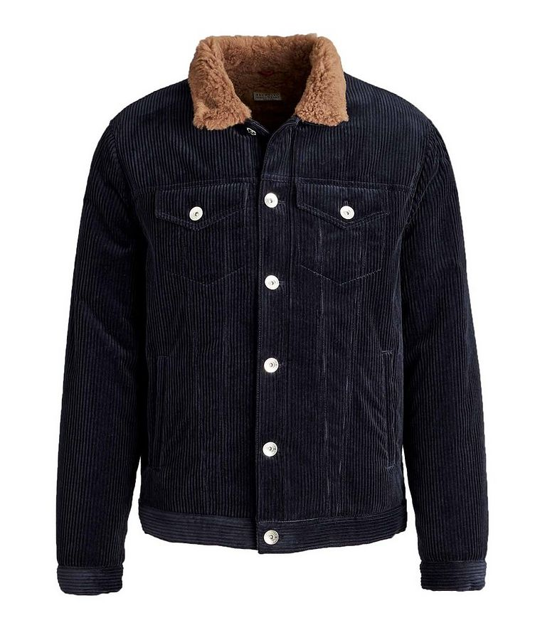 Shearling-Lined Cotton-Cashmere Corduroy Jacket image 0