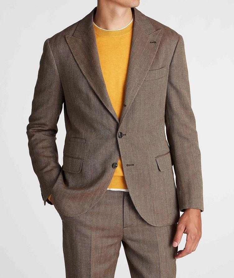 Herringbone Wool, Linen, and Silk Sports Jacket image 1