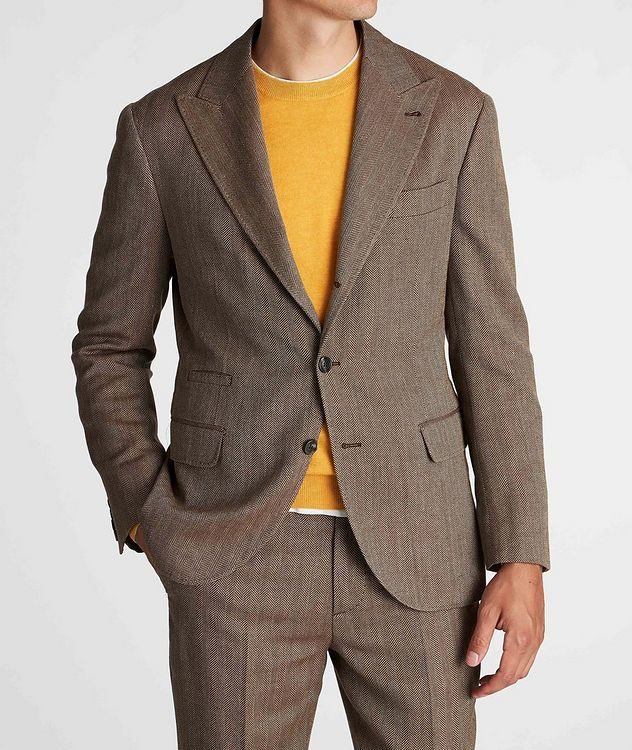 Herringbone Wool, Linen, and Silk Sports Jacket picture 2