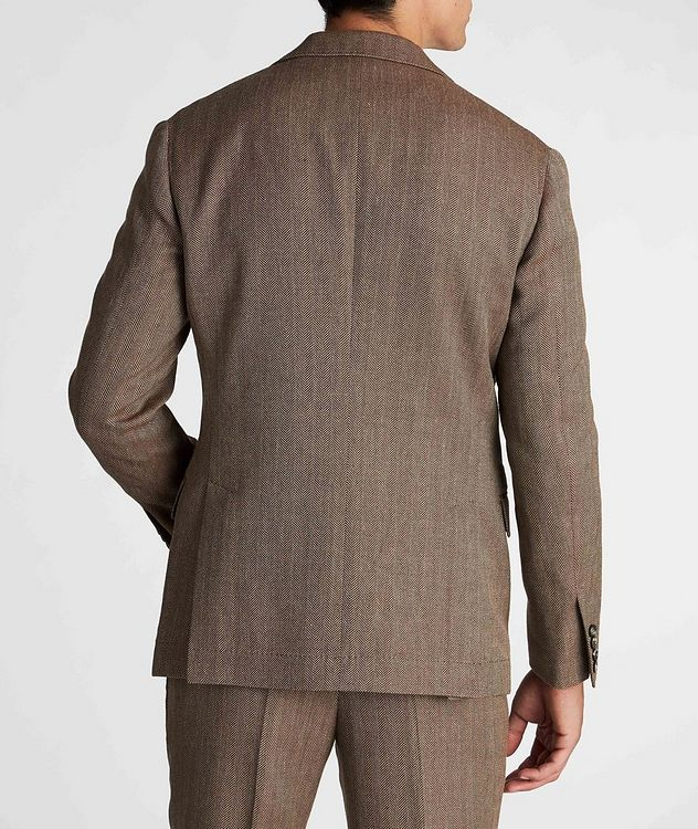 Herringbone Wool, Linen, and Silk Sports Jacket picture 3