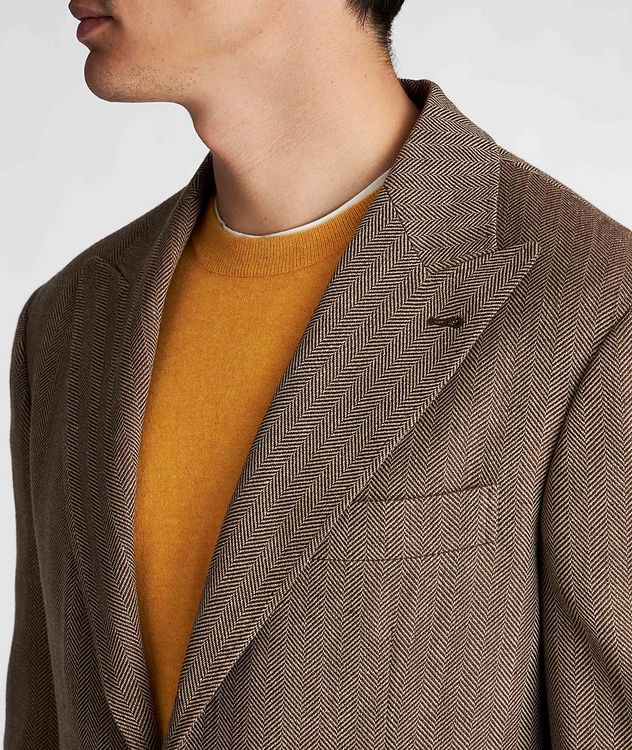 Herringbone Wool, Linen, and Silk Sports Jacket picture 4