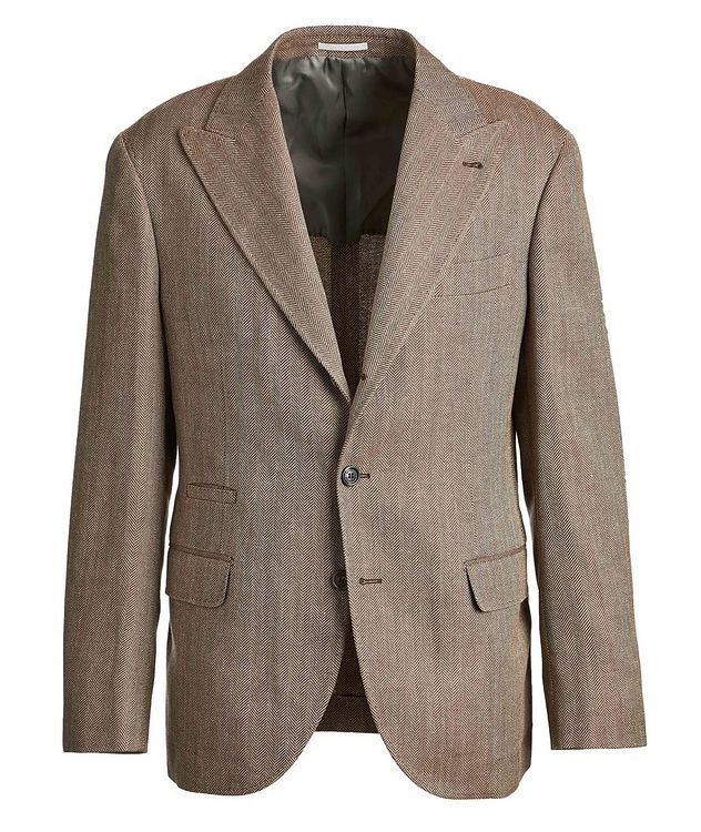 Herringbone Wool, Linen, and Silk Sports Jacket picture 1