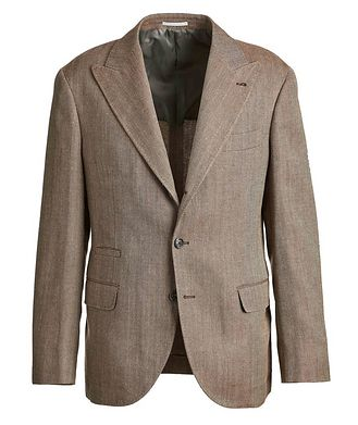 Brunello Cucinelli Herringbone Wool, Linen, and Silk Sports Jacket