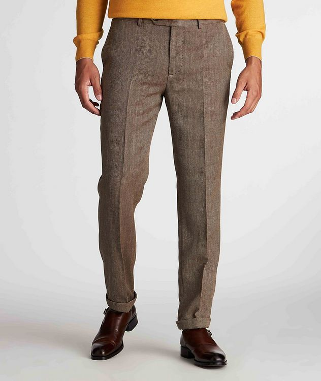 Herringbone Wool, Linen, and Silk Dress Pants picture 2