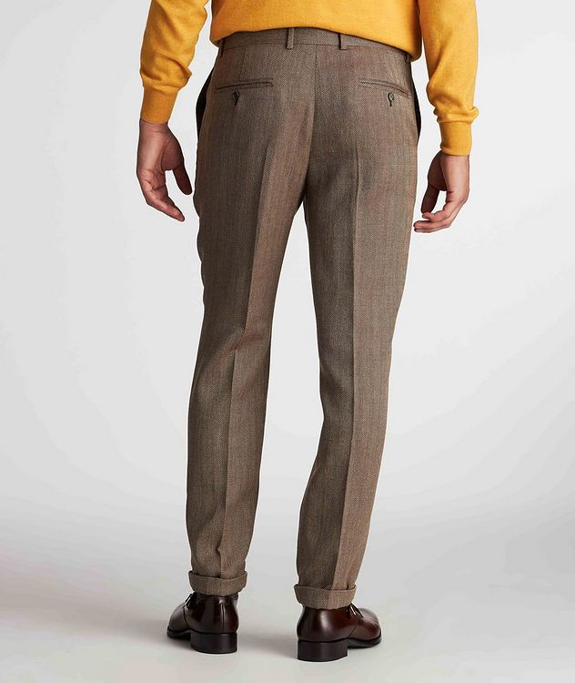 Herringbone Wool, Linen, and Silk Dress Pants picture 3