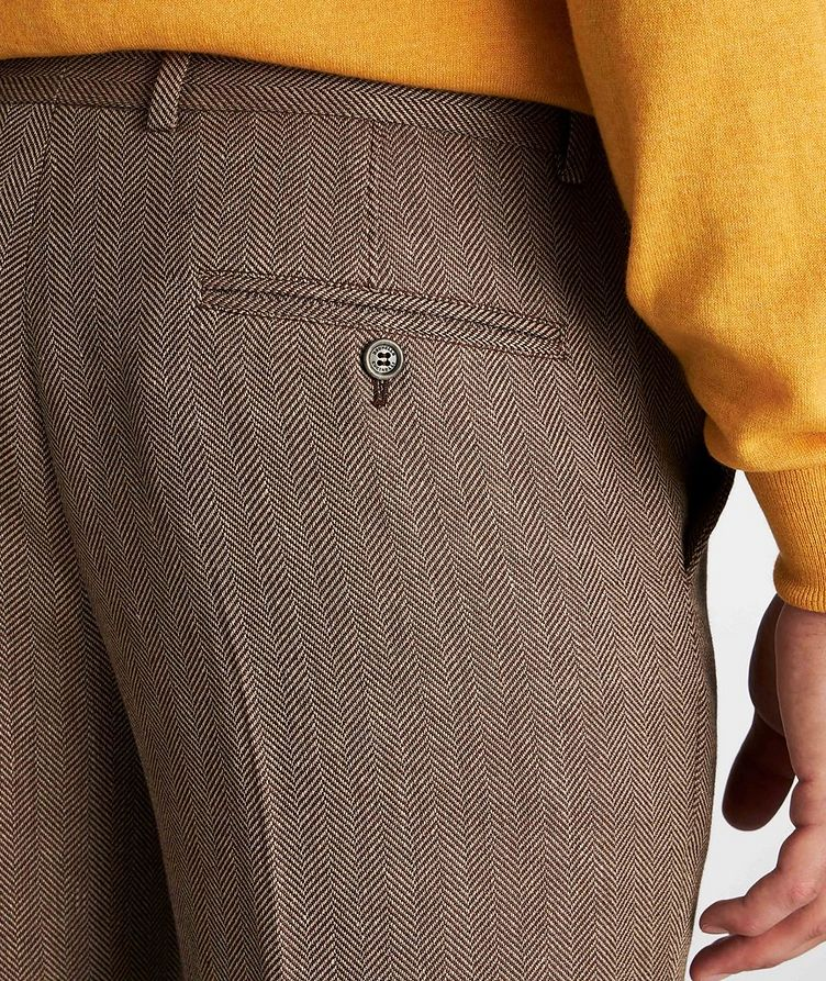 Herringbone Wool, Linen, and Silk Dress Pants image 3