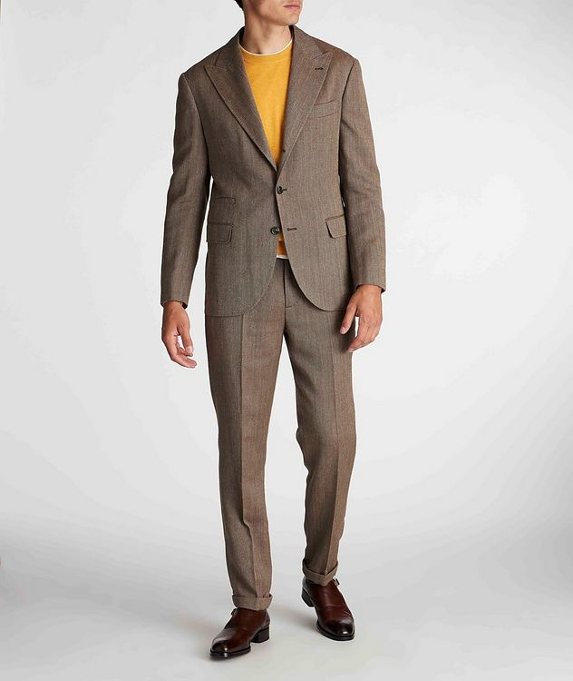 Herringbone Wool, Linen, and Silk Dress Pants picture 6