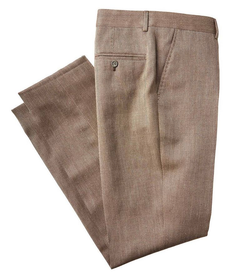 Herringbone Wool, Linen, and Silk Dress Pants image 0
