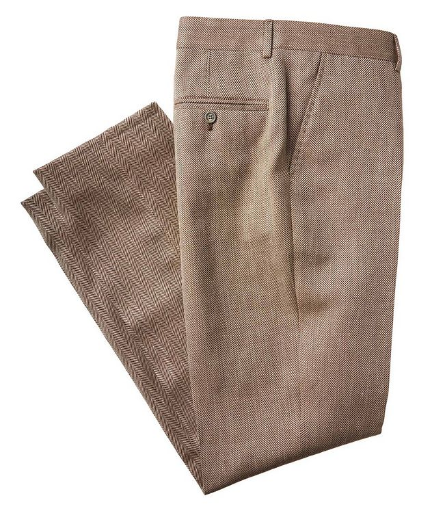 Herringbone Wool, Linen, and Silk Dress Pants picture 1