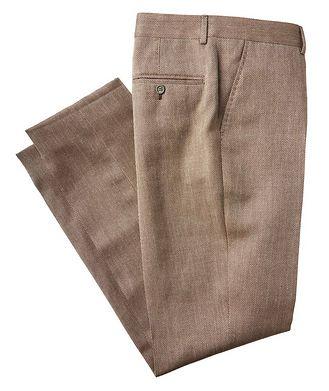 Brunello Cucinelli Pantalon habillé en laine, lin et soie à motif de chevrons