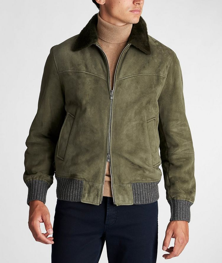 Fur-Trimmed Suede Bomber Jacket image 1