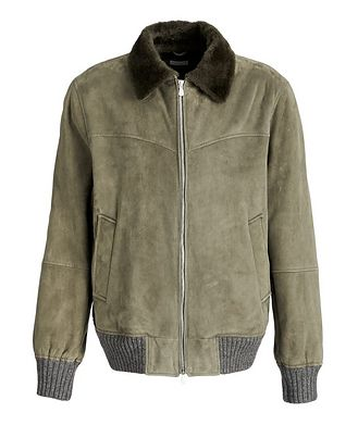 Brunello Cucinelli Fur-Trimmed Suede Bomber Jacket