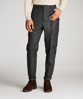 Brunello Cucinelli Contemporary Fit Wool Cargo Pants