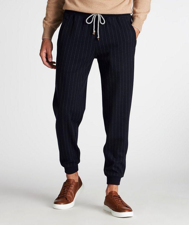 Pantalon sport en cachemire à fines rayures image 1