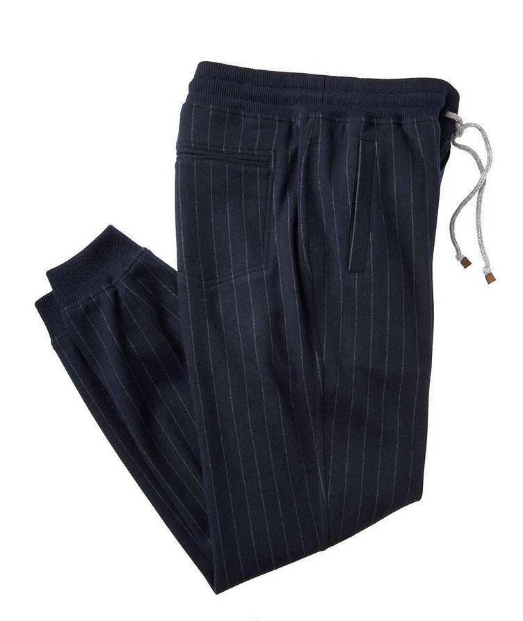 Pantalon sport en cachemire à fines rayures image 0