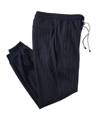 Brunello Cucinelli Pantalon sport en cachemire à fines rayures
