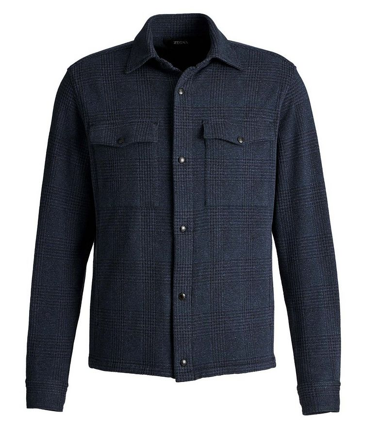 Plaid Stretch-Jersey Shirt Jacket image 0