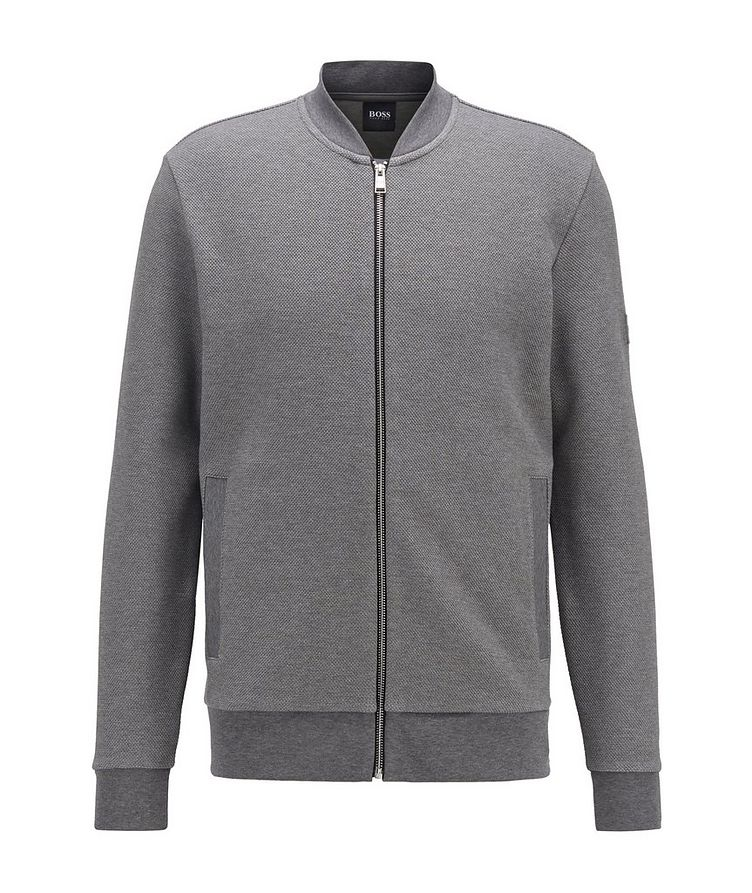 Zip-Up Stretch-Cotton Sweater image 0
