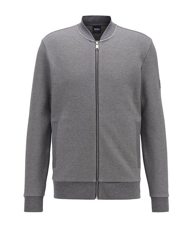 Zip-Up Stretch-Cotton Sweater picture 1