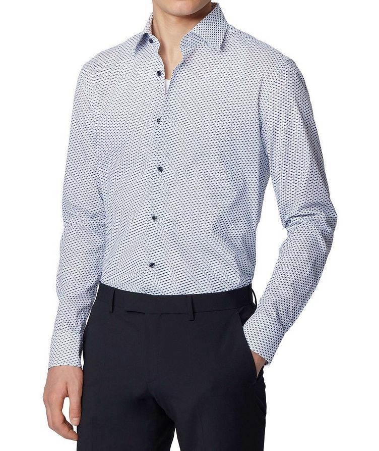 Slim Fit Fish-Printed Dress Shirt image 1