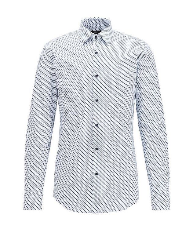 Slim Fit Fish-Printed Dress Shirt picture 1