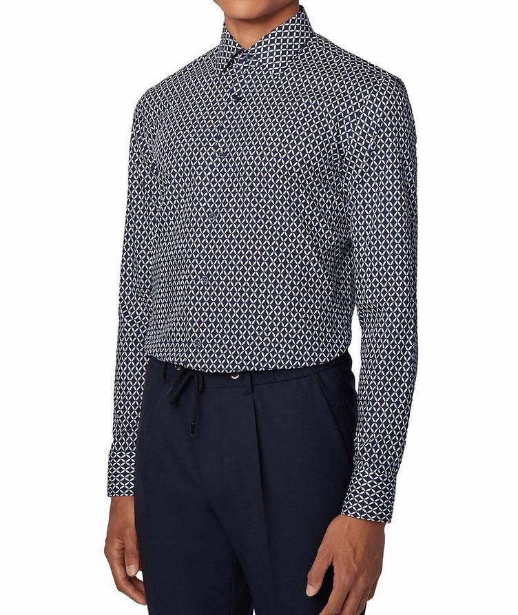 Slim Fit Diamond-Printed Dress Shirt image 1