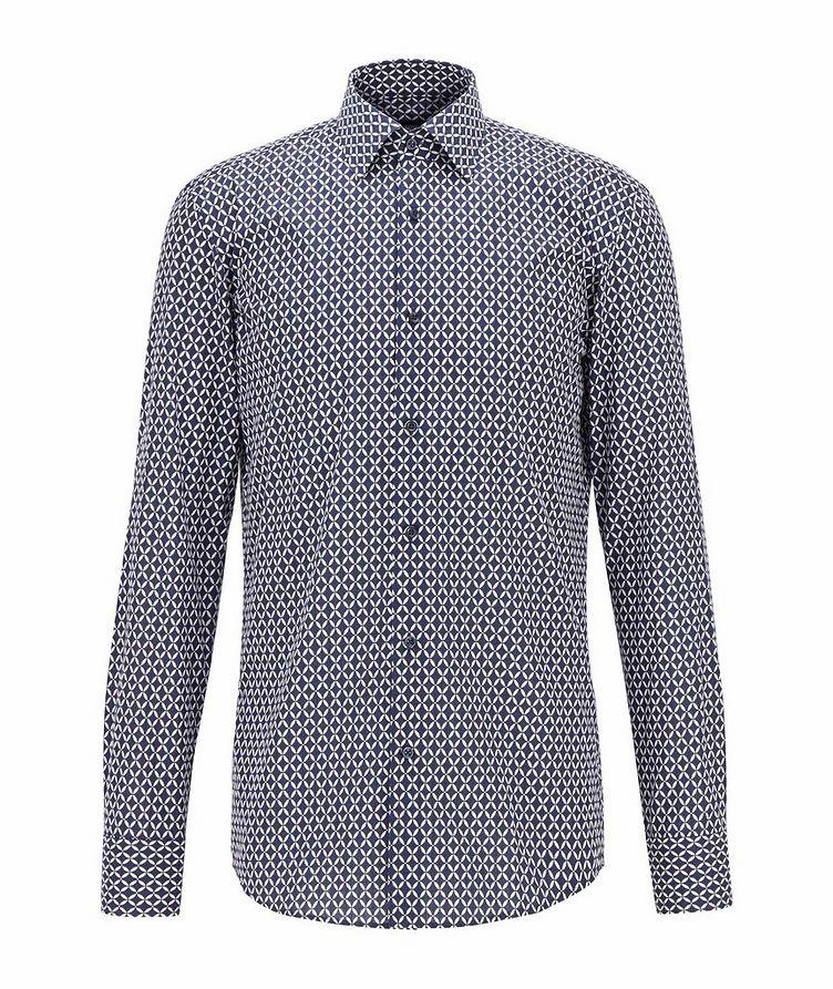 Slim Fit Diamond-Printed Dress Shirt image 0