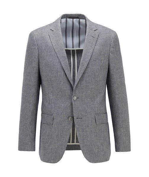BOSS Harlay2 Houndstooth Linen-Wool Sports Jacket
