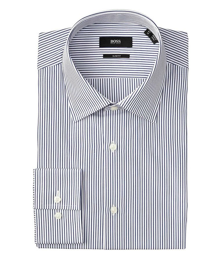 Slim Fit Pinstriped Dress Shirt image 0