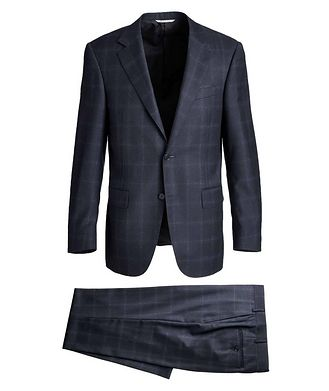 Canali Contemporary Fit Windowpane Suit