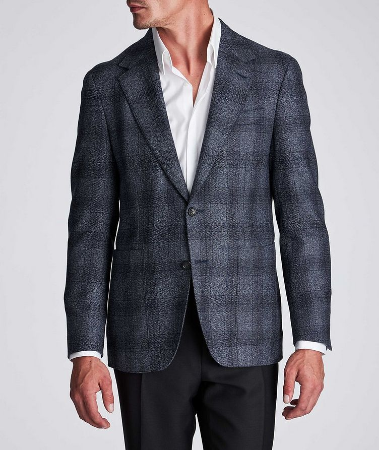 Contemporary Fit Checked Wool-Silk Sports Jacket image 1