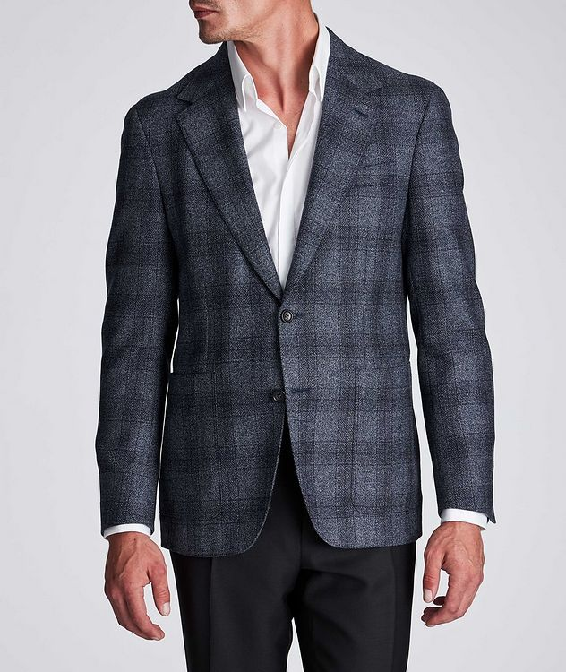 Contemporary Fit Checked Wool-Silk Sports Jacket picture 2