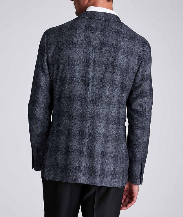 Contemporary Fit Checked Wool-Silk Sports Jacket picture 3