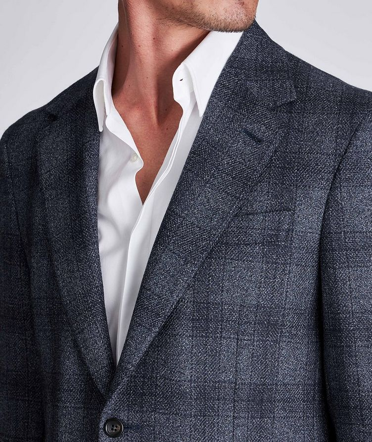 Contemporary Fit Checked Wool-Silk Sports Jacket image 3