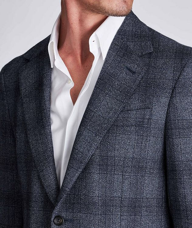 Contemporary Fit Checked Wool-Silk Sports Jacket picture 4