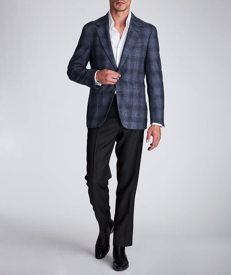 Contemporary Fit Checked Wool-Silk Sports Jacket image 4