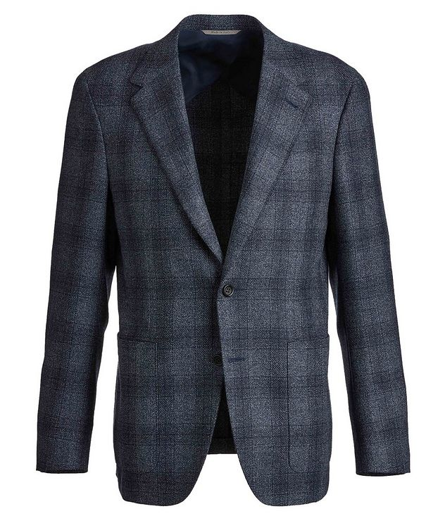 Contemporary Fit Checked Wool-Silk Sports Jacket picture 1