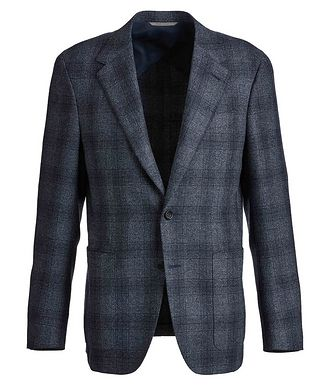 Canali Contemporary Fit Checked Wool-Silk Sports Jacket