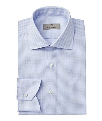 Canali Contemporary Fit Chevron-Checked Dress Shirt