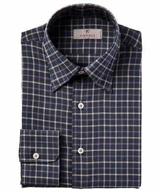 Canali Contemporary Fit Checkered Sports Shirt