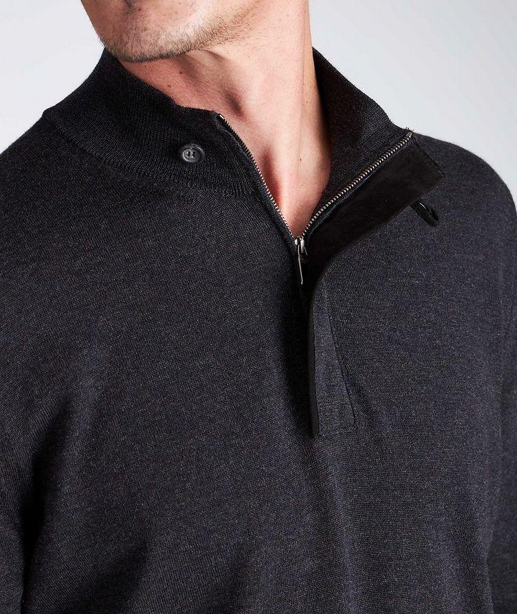 Half-Zip Textured Wool Sweater image 3