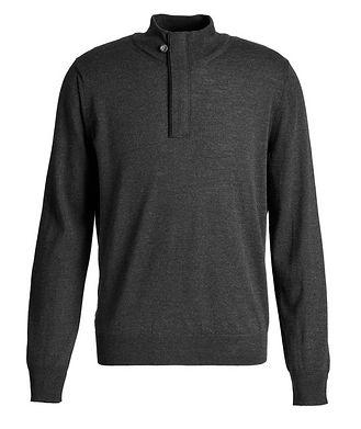 Canali Half-Zip Textured Wool Sweater
