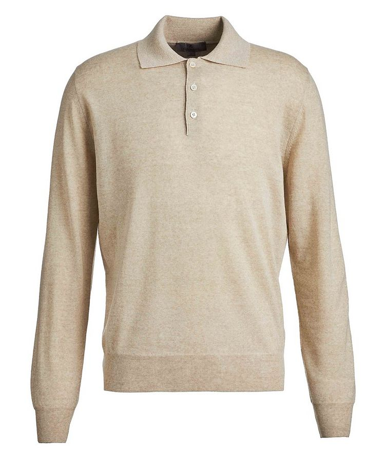 Long-Sleeve Knit Wool Polo image 0