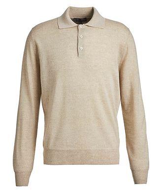 Canali Polo en tricot de laine à manches longues