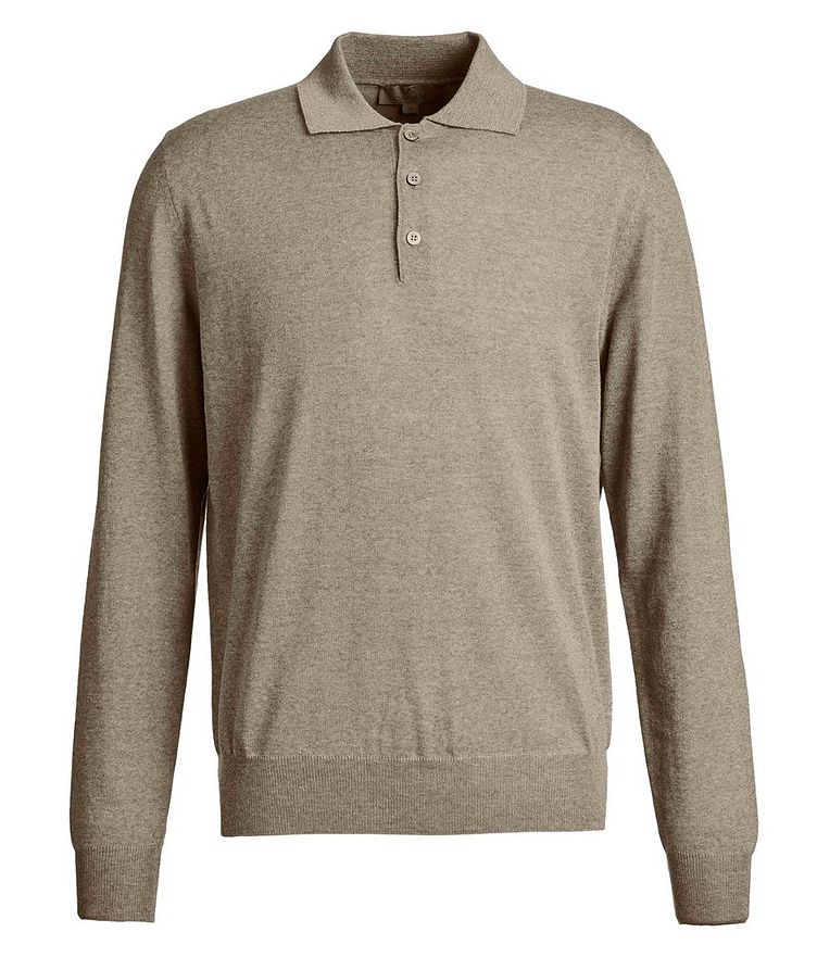 Long-Sleeve Knit Polo image 0