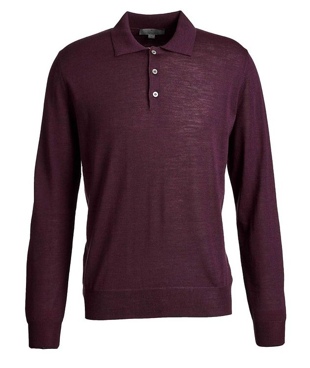 Long-Sleeve Knit Wool Polo picture 1